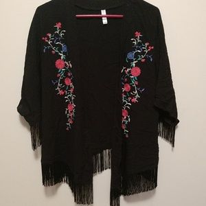 Black shawl/wrap with floral design